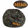 Personalized Small Camouflage Kids Bean Bag Chair [DG-BEAN-SMALL-CAMO-TXTEMB-GG]