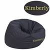 Personalized Small Solid Gray Kids Bean Bag Chair [DG-BEAN-SMALL-SOLID-GY-TXTEMB-GG]