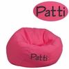 Personalized Small Solid Hot Pink Kids Bean Bag Chair [DG-BEAN-SMALL-SOLID-HTPK-EMB-GG]