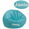 Personalized Small Solid Mint Green Kids Bean Bag Chair [DG-BEAN-SMALL-SOLID-MTGN-TXTEMB-GG]