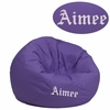 Personalized Small Solid Purple Kids Bean Bag Chair [DG-BEAN-SMALL-SOLID-PUR-TXTEMB-GG]