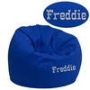 Personalized Small Solid Royal Blue Kids Bean Bag Chair [DG-BEAN-SMALL-SOLID-ROYBL-TXTEMB-GG]