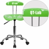 Personalized Vibrant Apple Green and Chrome Swivel Task Chair with Tractor Seat [LF-214-APPLEGREEN-EMB-VYL-GG]
