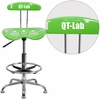Personalized Vibrant Apple Green and Chrome Drafting Stool with Tractor Seat [LF-215-APPLEGREEN-EMB-VYL-GG]