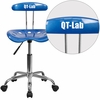 Personalized Vibrant Bright Blue and Chrome Swivel Task Chair with Tractor Seat [LF-214-BRIGHTBLUE-EMB-VYL-GG]