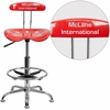 Personalized Vibrant Cherry Tomato and Chrome Drafting Stool with Tractor Seat [LF-215-CHERRYTOMATO-EMB-VYL-GG]