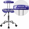Personalized Vibrant Deep Blue and Chrome Swivel Task Chair with Tractor Seat [LF-214-DEEPBLUE-EMB-VYL-GG]