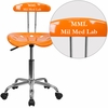 Personalized Vibrant Orange and Chrome Swivel Task Chair with Tractor Seat [LF-214-ORANGEYELLOW-EMB-VYL-GG]