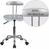 Personalized Vibrant Silver and Chrome Swivel Task Chair with Tractor Seat [LF-214-SILVER-EMB-VYL-GG]
