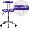 Personalized Vibrant Violet and Chrome Swivel Task Chair with Tractor Seat [LF-214-VIOLET-EMB-VYL-GG]