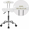 Personalized Vibrant White and Chrome Swivel Task Chair with Tractor Seat [LF-214-WHITE-EMB-VYL-GG]