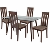 Piedmont 5 Piece Espresso Wood Dining Table Set with Glass Top and Vertical Slat Back Wood Dining Chairs - Padded Seats [ES-154-GG]
