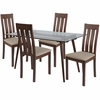 Piedmont 5 Piece Walnut Wood Dining Table Set with Glass Top and Vertical Slat Back Wood Dining Chairs - Padded Seats [ES-168-GG]