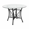Princeton 42'' Round Glass Dining Table with Black Metal Frame [XU-TBG-18-GG]