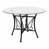 Princeton 45'' Round Glass Dining Table with Black Metal Frame [XU-TBG-17-GG]