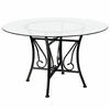 Princeton 48'' Round Glass Dining Table with Black Metal Frame [XU-TBG-16-GG]