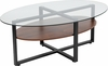 Princeton Collection Glass Coffee Table with Rustic Oak Wood Finish and Black Metal Legs [NAN-JH-1798CT-GG]