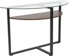 Princeton Collection Glass Console Table with Rustic Oak Wood Finish and Black Metal Legs [NAN-JH-1798ST-GG]