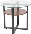 Princeton Collection Glass Side Table with Rustic Oak Wood Finish and Black Metal Legs [NAN-JH-1798ET-GG]
