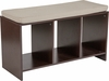 Prospect Hill Espresso Wood Finish Storage Bench with Cushion [NAN-JH-1711-GG]