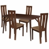Pullman 5 Piece Espresso Wood Dining Table Set with Vertical Wide Slat Back Wood Dining Chairs - Padded Seats [ES-12-GG]