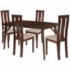 Pullman 5 Piece Walnut Wood Dining Table Set with Vertical Wide Slat Back Wood Dining Chairs - Padded Seats [ES-26-GG]