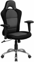 Race Car Inspired Gray and Black Mesh Swivel Task Chair with Bucket Seat and Adjustable Arms [BT-9015-GYBK-GG]