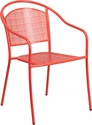 Coral Indoor-Outdoor Steel Patio Arm Chair with Round Back [CO-3-RED-GG]