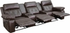 Reel Comfort Series 3-Seat Reclining Brown Leather Theater Seating Unit with Straight Cup Holders [BT-70530-3-BRN-GG]