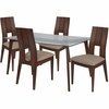 Rialto 5 Piece Walnut Wood Dining Table Set with Glass Top and Curved Slat Keyhole Back Wood Dining Chairs - Padded Seats [ES-130-GG]