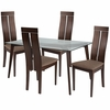 Ridgecrest 5 Piece Espresso Wood Dining Table Set with Glass Top and Clean Line Wood Dining Chairs - Padded Seats [ES-119-GG]