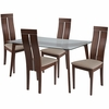 Ridgecrest 5 Piece Walnut Wood Dining Table Set with Glass Top and Clean Line Wood Dining Chairs - Padded Seats [ES-133-GG]