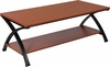 Ringwood Cherry Wood Grain Finish Coffee Table with Black Metal Frame [NAN-CT1015-GG]