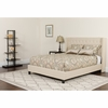 Riverdale Queen Size Tufted Upholstered Platform Bed in Beige Fabric with Pocket Spring Mattress [HG-BM-35-GG]