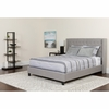 Riverdale Queen Size Tufted Upholstered Platform Bed in Light Gray Fabric with Pocket Spring Mattress [HG-BM-43-GG]