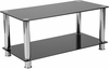 Riverside Collection Black Glass Coffee Table with Shelves and Stainless Steel Frame [HG-112347-GG]