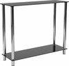 Riverside Collection Black Glass Console Table with Shelves and Stainless Steel Frame [HG-112350-GG]
