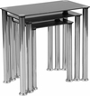 Riverside Collection Black Glass Nesting Tables with Stainless Steel Legs [HG-112349-GG]