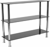Riverside Collection Black Glass Storage Shelves with Stainless Steel Frame [HG-112354-GG]