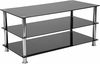 Riverside Collection Black Glass TV Stand with Stainless Steel Frame [HG-112441-GG]