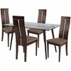 Roseville 5 Piece Espresso Wood Dining Table Set with Glass Top and Clean Line Wood Dining Chairs - Padded Seats [ES-147-GG]