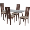 Roseville 5 Piece Walnut Wood Dining Table Set with Glass Top and Clean Line Wood Dining Chairs - Padded Seats [ES-161-GG]