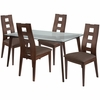 Ross 5 Piece Espresso Wood Dining Table Set with Glass Top and Window Pane Back Wood Dining Chairs - Padded Seats [ES-114-GG]