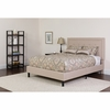 Roxbury Tufted Upholstered Queen Size Platform Bed in Beige Fabric [SL-BK5-Q-B-GG]