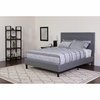 Roxbury Tufted Upholstered Queen Size Platform Bed in Light Gray Fabric [SL-BK5-Q-LG-GG]
