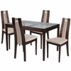 Saratoga 5 Piece Espresso Wood Dining Table Set with Glass Top and Curved Slat Wood Dining Chairs - Padded Seats [ES-94-GG]