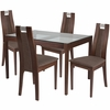Saratoga 5 Piece Walnut Wood Dining Table Set with Glass Top and Curved Slat Wood Dining Chairs - Padded Seats [ES-108-GG]
