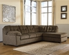 Signature Design by Ashley Accrington 2-Piece LAF Sofa Sectional in Earth Microfiber [FSD-1339SEC-2LAFS-ERT-GG]