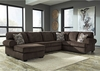 Signature Design by Ashley Jinllingsly 3-Piece RAF Sofa Sectional in Chocolate Corduroy [FSD-1949SEC-3RAFS-CHO-GG]