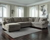 Signature Design by Ashley Jinllingsly 3-Piece RAF Sofa Sectional in Gray Corduroy [FSD-1949SEC-3RAFS-GRY-GG]
